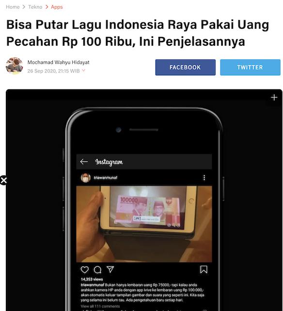 [Cek Fakta] Di Dalam Uang Rp75 Ribu Ada Video Lagu Indonesia Raya? Ini Faktanya