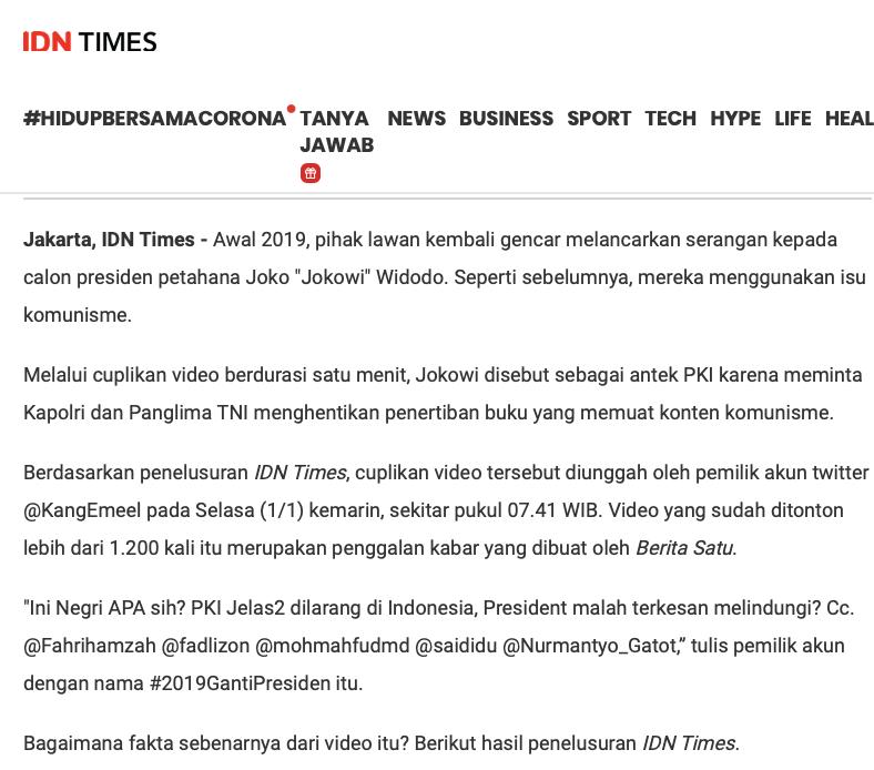 [Cek Fakta] Benarkah Jokowi Telepon Kapolri dan Panglima TNI Larang <i>Sweeping</i> PKI? Cek Faktanya