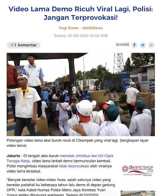 [Cek Fakta] Video Demo Masyarakat Bandung Tolak UU Ciptaker Berteriak
