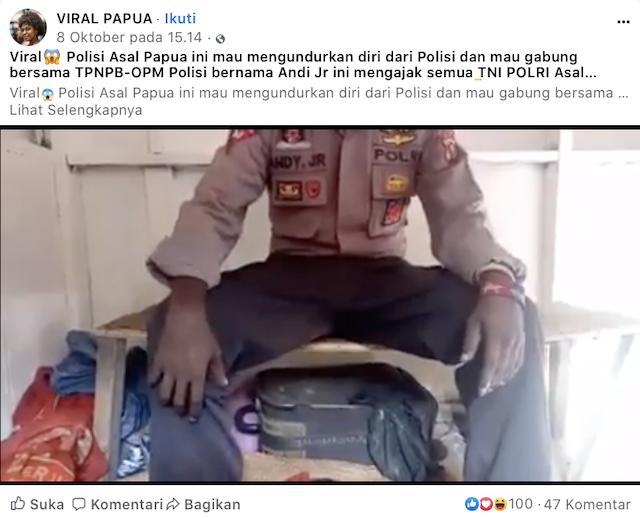 [Cek Fakta] Video Viral Seorang Polisi Mengundurkan Diri dan Membelot ke Papua Merdeka Hoaks, Begini Faktanya