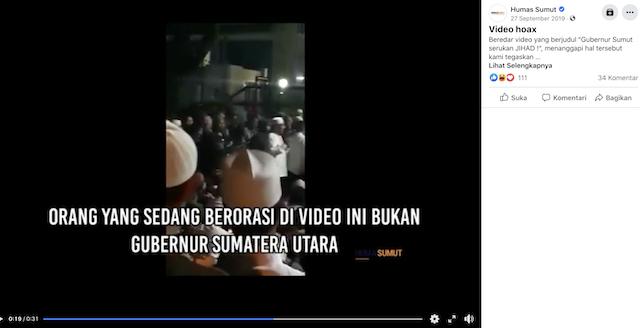 [Cek Fakta] Gubernur Edy Serukan Jihad dan Revolusi terhadap Rezim Busuk? Ini Faktanya