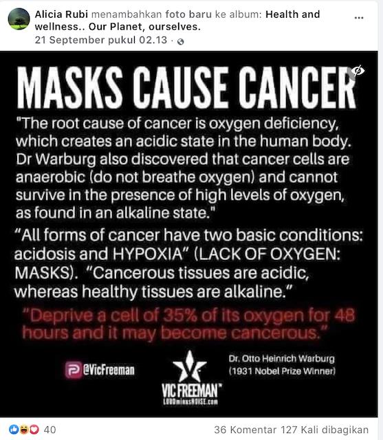 [Cek Fakta] Benarkah Memakai Masker Dapat Menyebabkan Kanker? Cek Faktanya