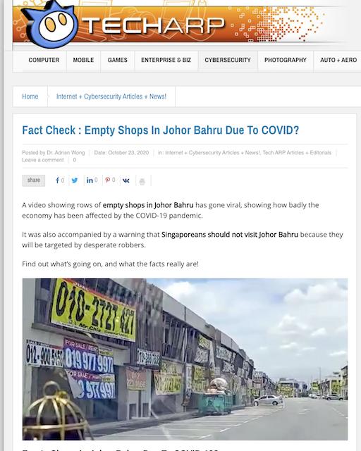 [Cek Fakta] Beredar Video Banyak Ruko di Johor Malaysia Dijual karena Covid-19? Ini Faktanya