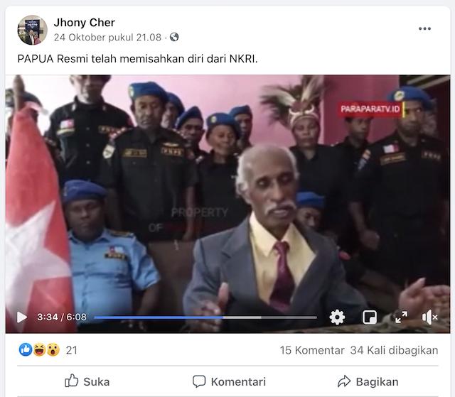 [Cek Fakta] Papua Resmi Memisahkan Diri dari NKRI? Ini Faktanya
