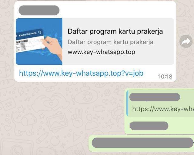 [Cek Fakta] <i>Link</i> Palsu Pendaftaran Program Kartu Prakerja Kembali Beredar Melalui WhatsApp, Ini Cek Faktanya