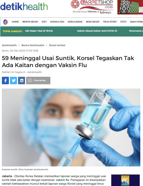 [Cek Fakta] 48 Orang Dilaporkan Tewas di Korea Selatan usai Disuntik Vaksin Covid-19? Cek Faktanya