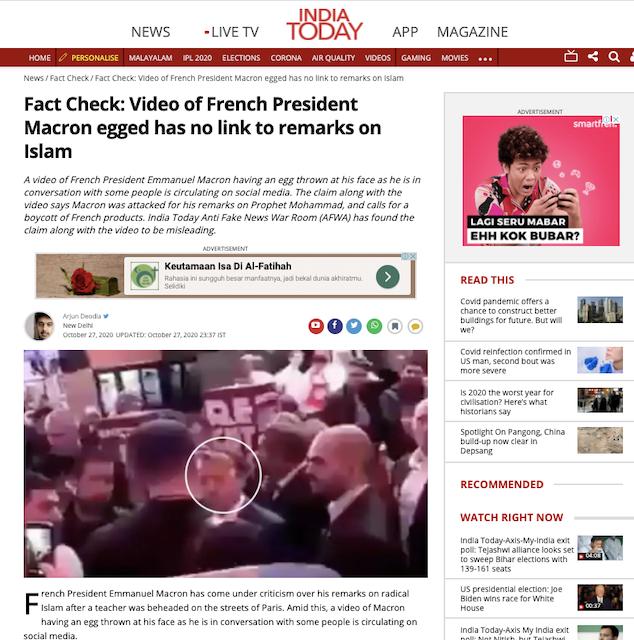[Cek Fakta] Macron Dilempar Telur karena Mendukung Kartun Nabi Muhammad SAW? Begini Faktanya