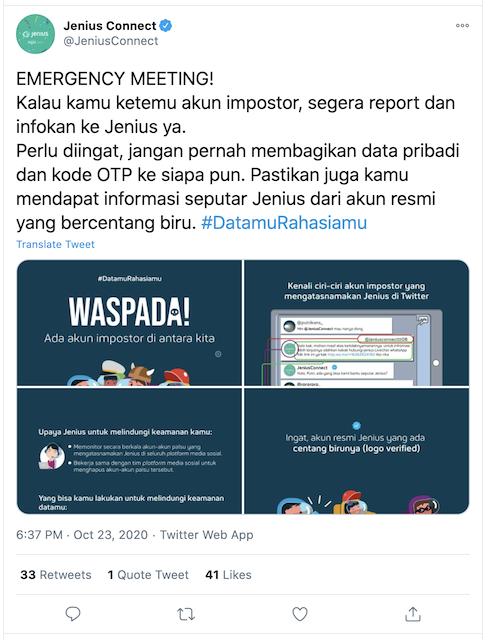 [Cek Fakta] Beredar Akun Twitter Atas Nama Jenius? Ini Faktanya