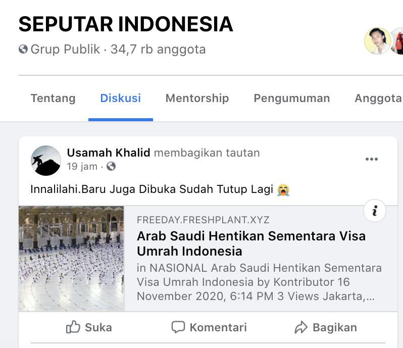 [Cek Fakta] Arab Saudi Hentikan Sementara Visa Umrah Indonesia? Cek Faktanya