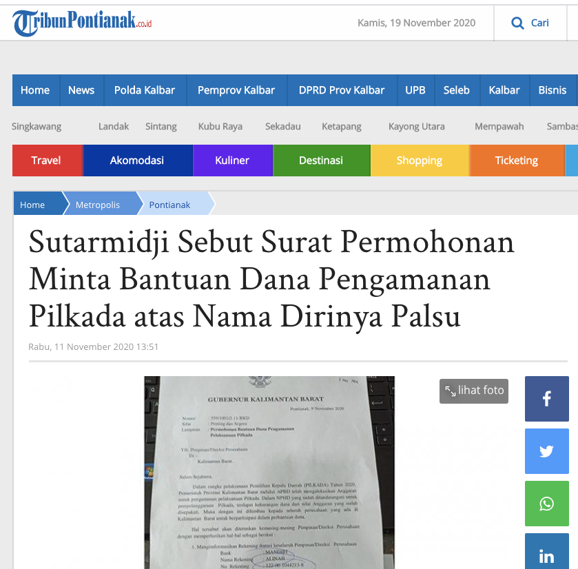 [Cek Fakta] Beredar Surat Gubernur Kalbar Minta Dana Pengamanan Pilkada? Ini Faktanya