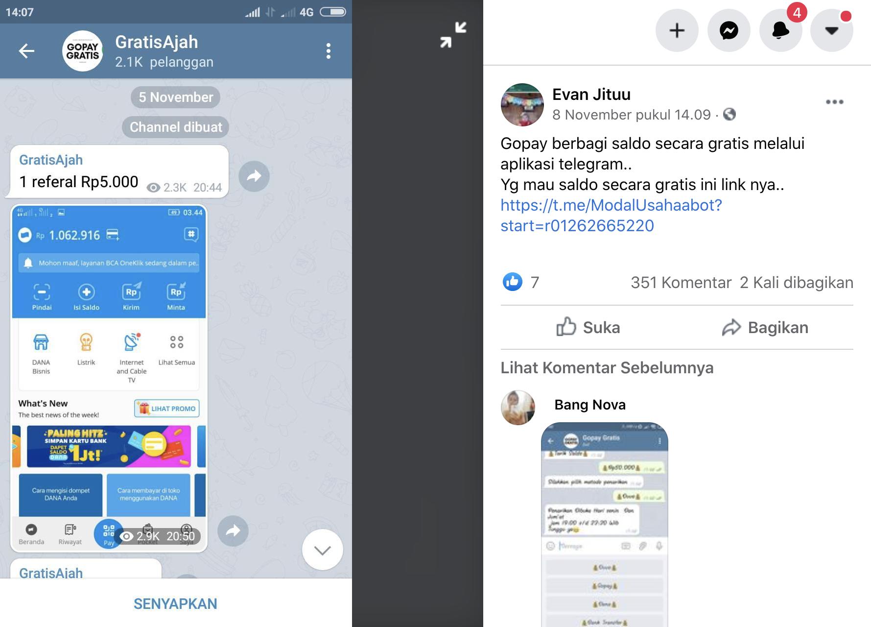 [Cek Fakta] Benarkah GoPay Bagi-Bagi Saldo Gratis Melalui Aplikasi Telegram? Cek Faktanya