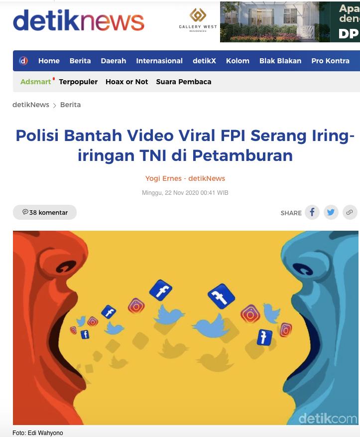 [Cek Fakta] Beredar Video Kerusuhan di Petamburan? Cek Faktanya