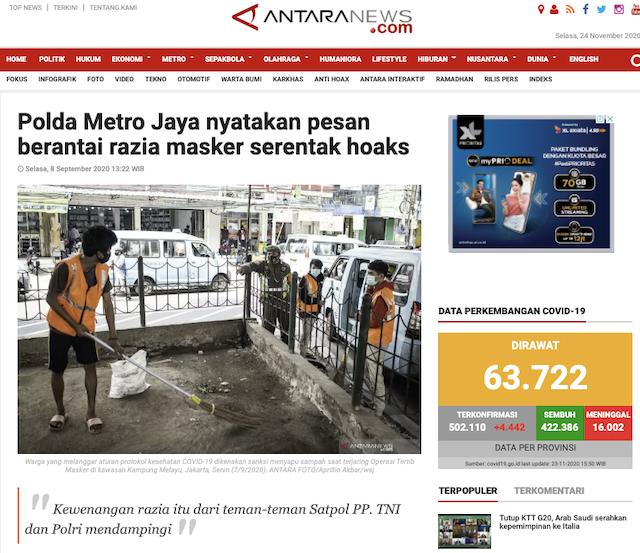 [Cek Fakta] Benarkah Polisi Akan Razia Masker Serentak di Seluruh Wilayah Indonesia dengan Denda Rp250 Ribu? Cek Faktanya