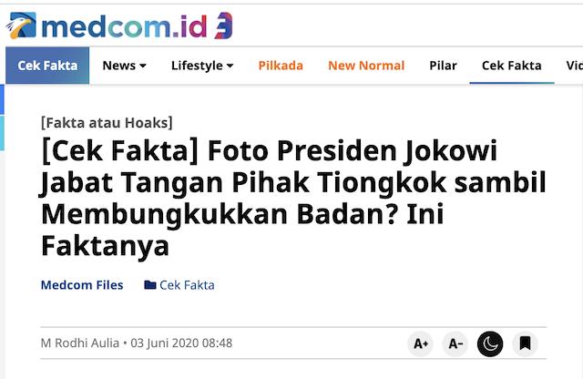 [Cek Fakta] Foto Presiden Jokowi jadi Cecunguk Tiongkok? Ini Faktanya