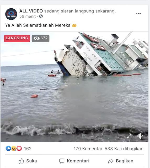 [Cek Fakta] Hoaks Pertama 2021, Video Siaran Langsung Kapal Tenggelam