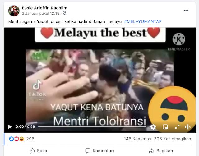 [Cek Fakta] Video Menteri Yaqut Diusir ketika Hadir di Tanah Melayu Riau? Ini Faktanya