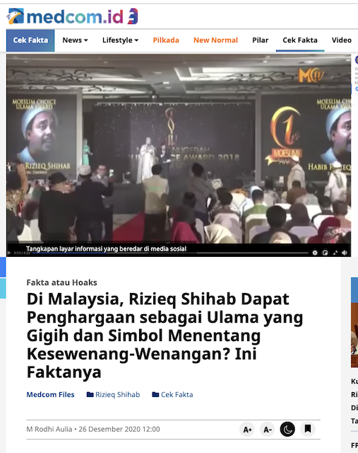 [Cek Fakta] Pihak Malaysia Nobatkan Rizieq Ulama Terbaik Dunia? Ini Faktanya