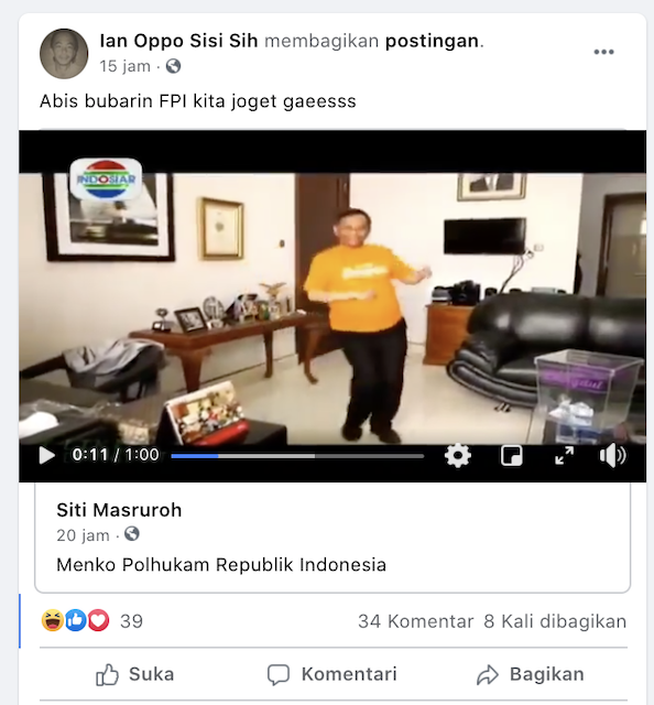 [Cek Fakta] Video Mahfud MD Joget Usai Bubarkan FPI? Ini Faktanya