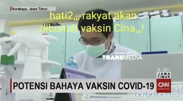 [Cek Fakta] Video Pemberitaan Rakyat akan Dibunuh Vaksin Tiongkok? Ini Faktanya