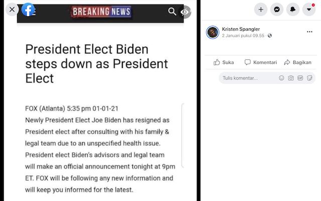 [Cek Fakta] Joe Biden Mundur sebagai Presiden AS Terpilih? Ini Faktanya