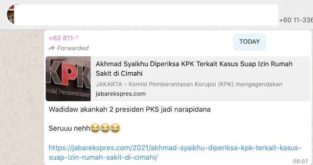 [Cek Fakta] Akhmad Syaikhu Diperiksa KPK soal Kasus Suap Izin Rumah Sakit Cimahi Presiden PKS? Ini Faktanya