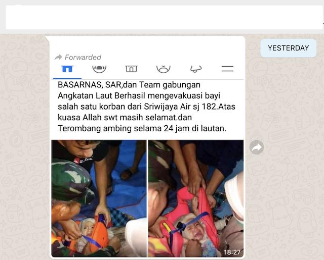 [Cek Fakta] Foto Bayi Selamat dari Kecelakaan Sriwijaya Air SJ182, Hoaks