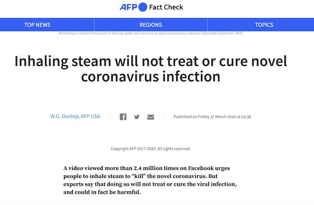 [Cek Fakta] Uap Air Panas Diklaim Bisa Matikan Virus Korona? Ini Faktanya