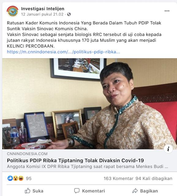 [Cek Fakta] Vaksin Sinovac Senjata Biologis Tiongkok Diujicobakan Khusus 170 Juta Muslim Indonesia? Ini Faktanya