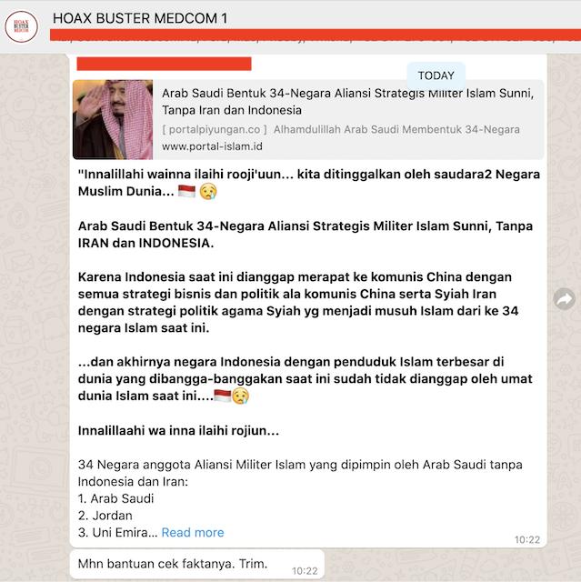 [Cek Fakta] Indonesia Tidak Diajak Aliansi Militer Islam <i>Sunni</i> karena Merapat ke Komunis Tiongkok? Ini Faktanya