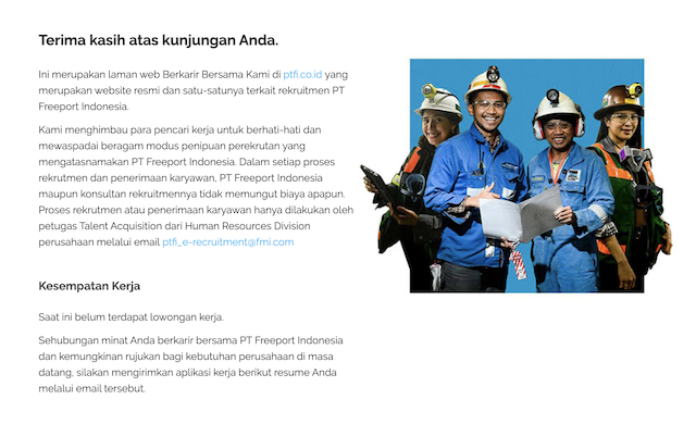 Beredar Lowongan Kerja Pt Freeport Indonesia Ini Faktanya