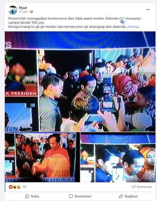 [Cek Fakta] Foto Presiden Jokowi Berkerumun dan tak Gunakan Masker? Ini Faktanya