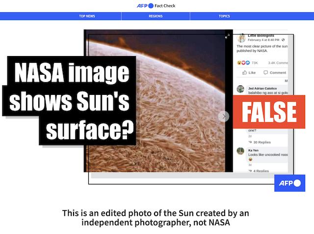 [Cek Fakta] Foto Ini Memperlihatkan Permukaan Matahari yang Dipublikasikan NASA? Ini Faktanya