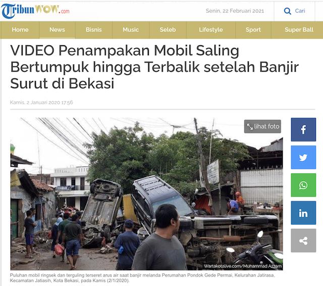 [Cek Fakta] Video Penampakan Mobil Bertumpuk Akibat Banjir? Ini Faktanya