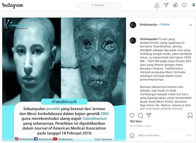 [Cek Fakta] Peneliti Jerman Terkejut Mengetahui Replika Wajah Tutankhamun Mirip Jokowi? Ini Cek Faktanya