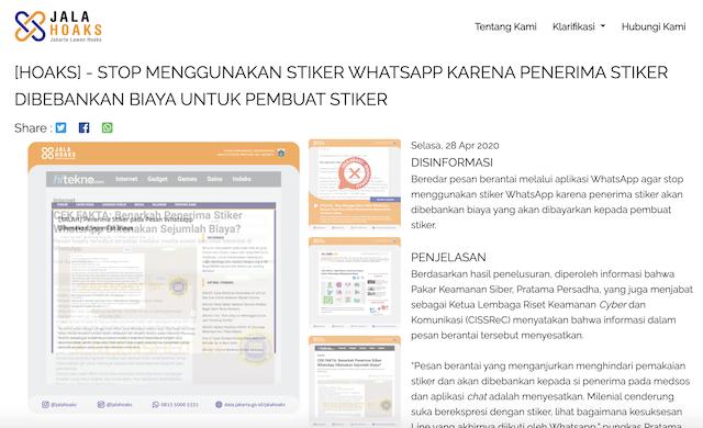 [Cek Fakta] Penerima Stiker WhatsApp Dikenakan Biaya Sebesar Rp250? Ini Faktanya