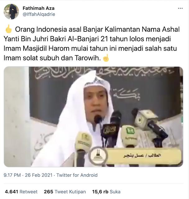 [Cek Fakta] Seorang WNI Terpilih MenJadi Imam Masjidil Haram Mekkah? Ini Faktanya