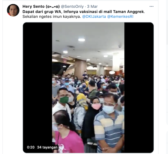 [Cek Fakta] Beredar Video Kerumunan Orang di Mal Taman Anggrek Jakarta? Ini Cek Faktanya