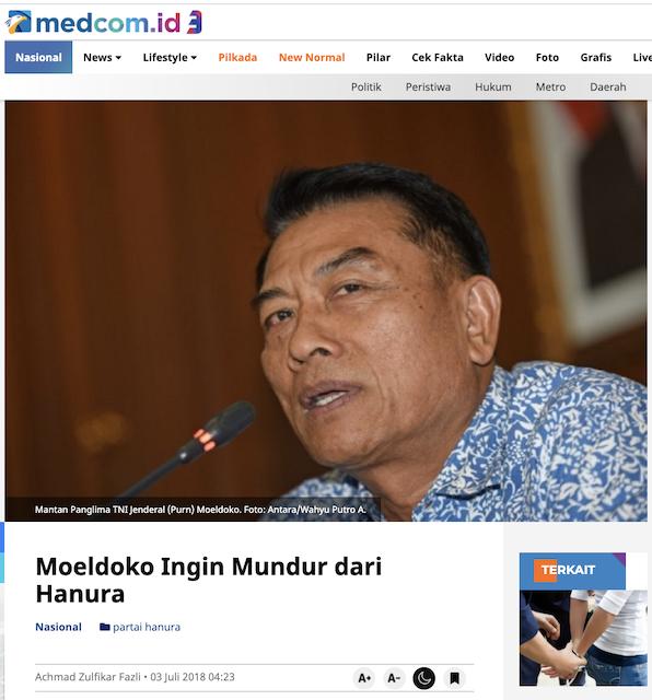 [Cek Fakta] Moeldoko Kader Partai Hanura? Ini Faktanya