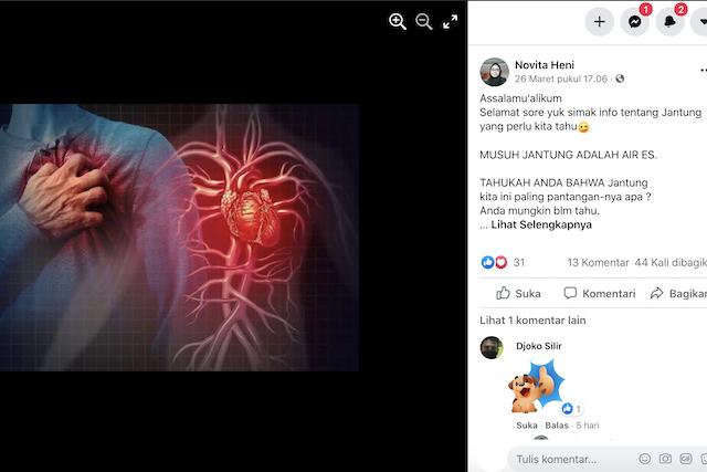 [Cek Fakta] Musuh Jantung Adalah Air Es? Cek Faktanya