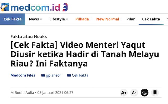 [Cek Fakta] Video Menteri Agama Yaqut Diusir dan Pemerintah tak Punya Wibawa? Ini Faktanya