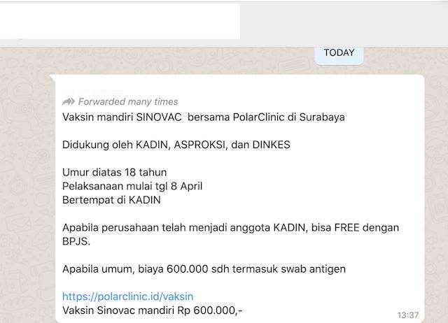 [Cek Fakta] Vaksin Mandiri Sinovac Rp600 Ribu? Ini Faktanya
