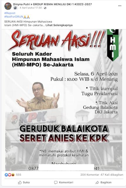 [Cek Fakta] Hari Ini Kader HMI-MPO se-Jakarta Geruduk Balai Kota untuk Seret Anies ke KPK? Simak Faktanya