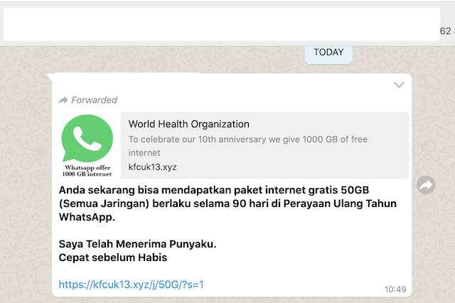 [Cek Fakta] Link Survei WhatsApp Bagikan Kuota Internet Gratis 50 GB? Ini Faktanya