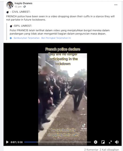 [Cek Fakta] Video Sejumlah Polisi Prancis Jatuhkan Borgol Simbol Tolak <i>Lockdown</i>? Ini Faktanya