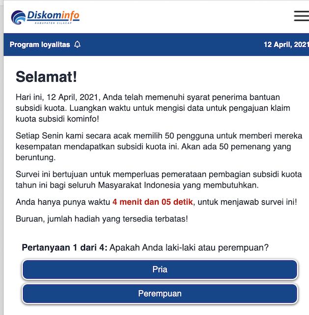 [Cek Fakta] Link Survei Kominfo Berikan Subsidi Pulsa Rp200 Ribu dan Kuota 95 GB? Ini Faktanya
