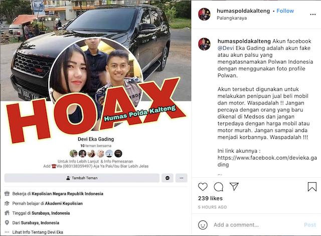 [Cek Fakta] Akun Polwan Ini Jual Beli Mobil Super Murah di Media Sosial? Simak Faktanya