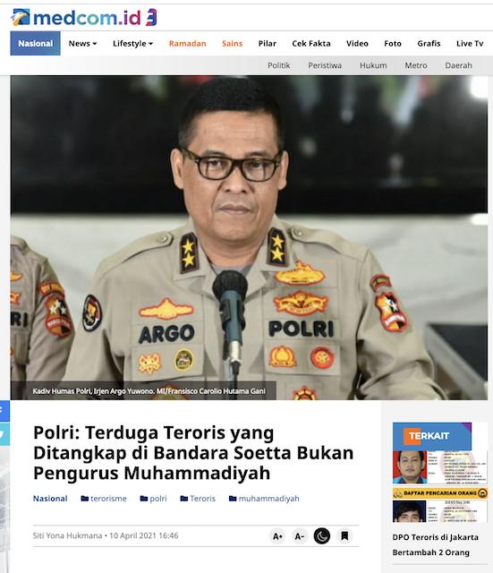 [Cek Fakta] Pimpinan Muhammadiyah Cabang Mantrijeron Yogyakarta Ditangkap Densus 88? Ini Faktanya