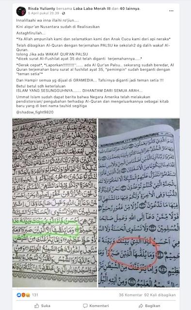[Cek Fakta] Beredar Alquran dengan Terjemahan Palsu? Ini Faktanya