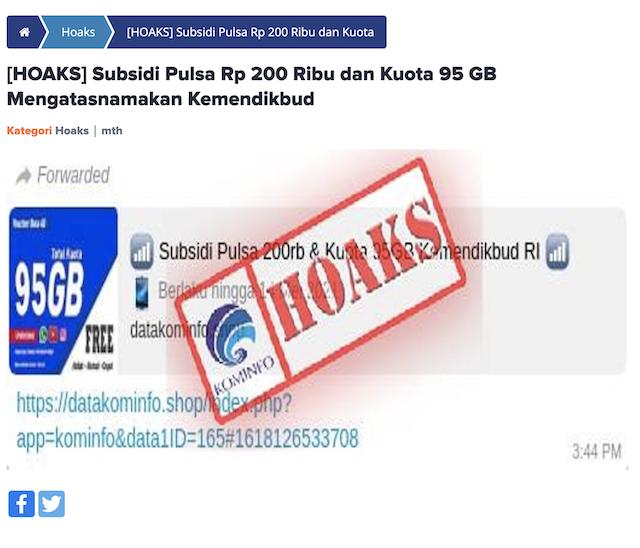 [Cek Fakta] Link Subsidi Pulsa Rp200 Ribu dan Kuota 95 GB dari Kemendikbud? Cek Dulu Faktanya