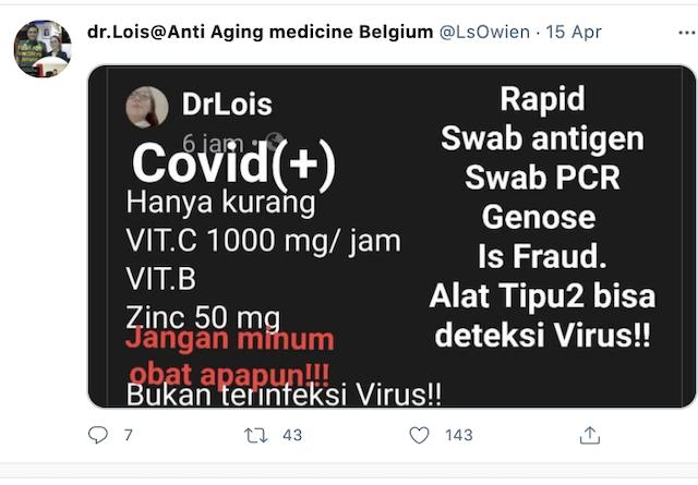 [Cek Fakta] Positif Covid-19 Disebabkan Kekurangan Vitamin Bukan Virus? Cek Faktanya